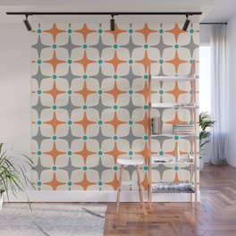Mid Century Modern Star Pattern Grey and Orange Wall Mural