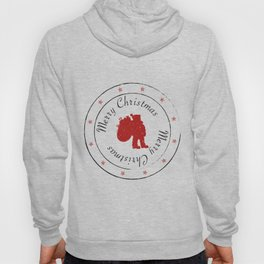 Merry Christmas Santa Claus Stamp with Stars Hoody