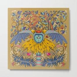 Owl in gold kingdom Metal Print