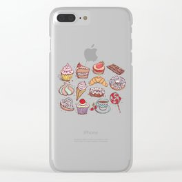 Hand drawn confectionery croissant Cupcake candy ice cream cake donut and coffee Clear iPhone Case