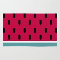 watermelon Area & Throw Rugs featuring Watermelon by According to Panda