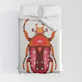 Orange and Red Beetle Duvet Cover