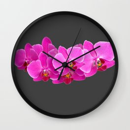 CHARCOAL GREY PURPLE PINK ORCHIDS Wall Clock