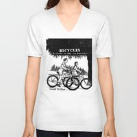 bicycles V-neck T-shirts featuring Bicycles by Addison Karl