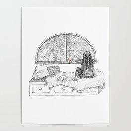 Rainy Day Window pencil illustration Poster