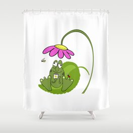 Happy Frog with Coffee with Ladybug and Bee Friends Cartoon T-Shirt Shower Curtain