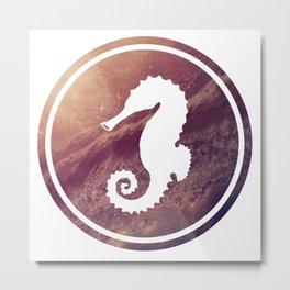 Seahorse Illustration Metal Print