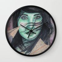planes Wall Clocks featuring Paper planes  by Pendientera