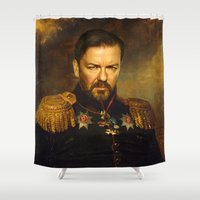 replaceface Shower Curtains featuring Ricky Gervais - replaceface by replaceface