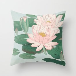 Water Lilies - Japanese vintage woodblock print Throw Pillow