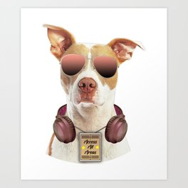 Cool music dog with Access All Areas Art Print