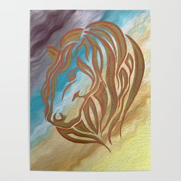Copper & Old Gold Abstract Mare Poster
