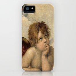 Raphael – Madonna Sistine – detail – two putti iPhone Case