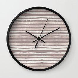 Simply Shibori Stripes Lunar Gray and Red Earth Wall Clock