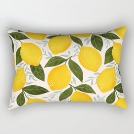 Mediterranean Summer Lemons Pattern Rectangular Pillow