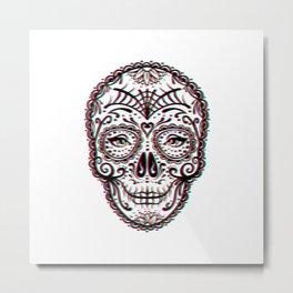 Sugar Skull (Calavera) Chromatic Aberration - Cyan Magenta Yellow Metal Print