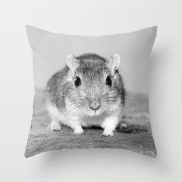 Gerbil , Black and white Throw Pillow