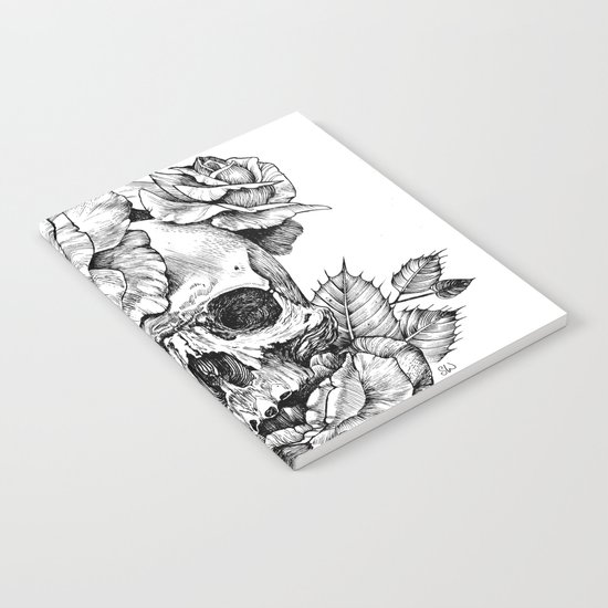Black and White skull with roses pen drawing Notebook