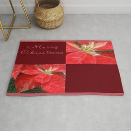 Mottled Red Poinsettia 1 Ephemeral Merry Christmas Q10F1 Rug