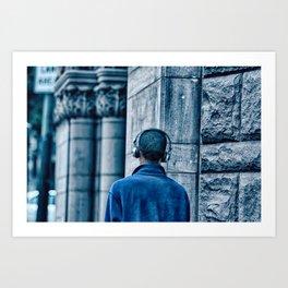 Man headset blue Art Print