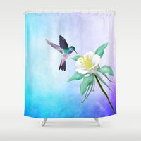 hummingbird Shower Curtains featuring hummingbird. by haroulita