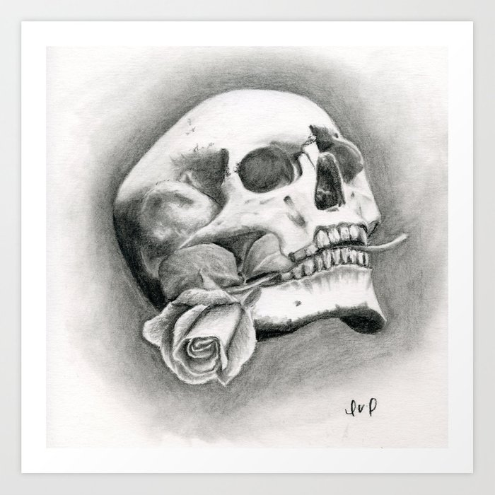 Skull & Rose Art Print