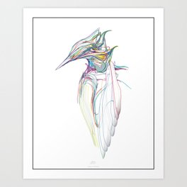 Kingfisher 1c. Color lines on white background-(Red eyes series) Art Print