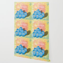 Blue eggs and crosses on pastel textured background Wallpaper