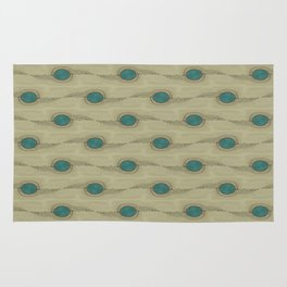 Teal Turquoise Circles Pattern Modern Abstract Rug