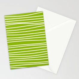 Apple Green & White Maritime Hand Drawn Stripes - Mix & Match with Simplicity of Life Stationery Cards