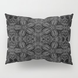Black Slate Gray Floral Pattern Pillow Sham