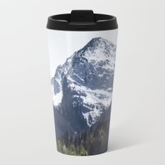 Winter and Spring - green trees and snowy mountains Travel Mug