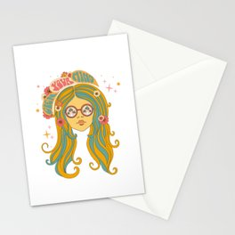 Open Your Mind, 60s Girl With Mushroom Eyes Stationery Cards