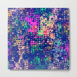 Colorful squares on a blue background Metal Print
