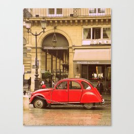 A Little Red Car in Paris  Canvas Print