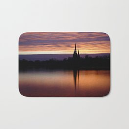Sunset Reflection At The Lichfield Cathedral Bath Mat