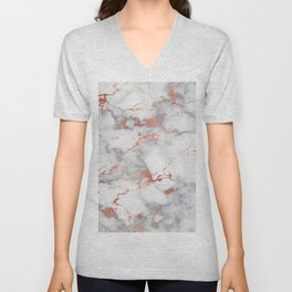 Glam stylish faux rose gold gray abstract blush chic marble Unisex V-Neck