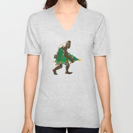Bigfoot Carrying Christmas Tree Holiday Season. Unisex V-Neck