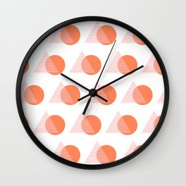 Circles and Triangles Pattern in Pink and Orange Wall Clock