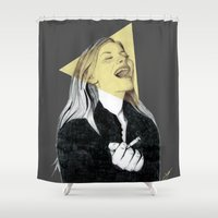 blondie Shower Curtains featuring Smiling Blondie by Coco Dávez