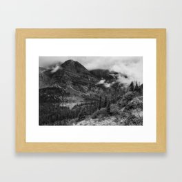 Grinnell Lake from the Trail No. 1 bw - Glacier NP Framed Art Print