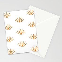 Orange Evil Eye Pattern Stationery Cards