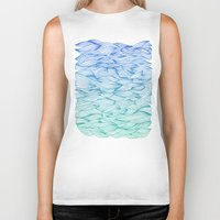 waves Biker Tanks featuring Ombré Waves by Cat Coquillette