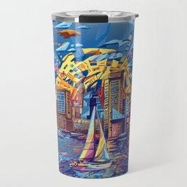 abstract city skyline-baltimore Travel Mug