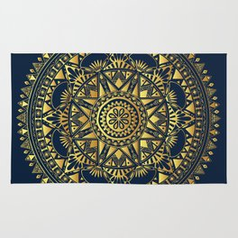 Blue & Gold Boho Pattern Rug
