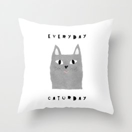 Caturday / poster, cat, art print, pictures, scandinavian, nursery, deco, family, art, animal, petti Throw Pillow