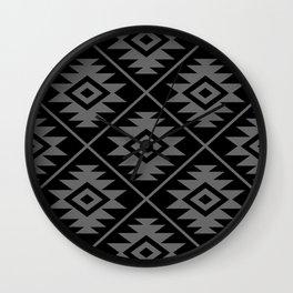 Aztec Symbol Pattern Gray on Black Wall Clock