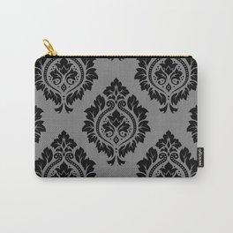 Decorative Damask Pattern Black on Gray Carry-All Pouch