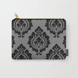 Decorative Damask Pattern Black on Gray Carry-All Pouch