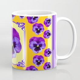 SPRING  PURPLE PANSY FLOWERS YELLOW GARDEN ART Coffee Mug